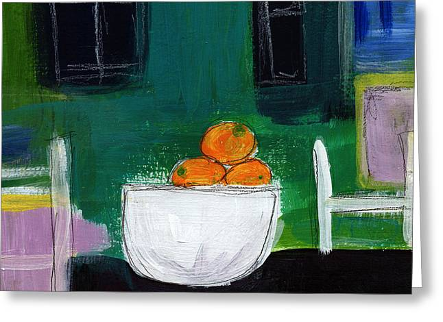 Interior Still Life Mixed Media Greeting Cards - Bowl of Oranges- Abstract Still Life Painting Greeting Card by Linda Woods