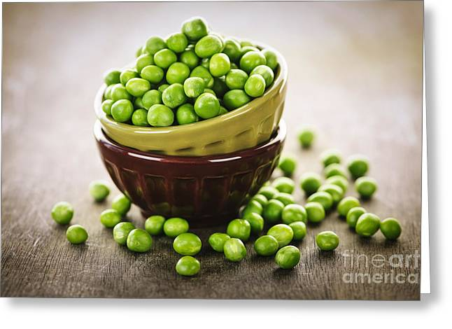 Organic Foods Greeting Cards - Bowl of peas Greeting Card by Elena Elisseeva