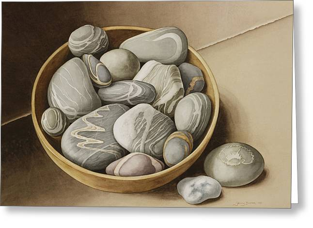Assorted Paintings Greeting Cards - Bowl of Pebbles Greeting Card by Jenny Barron
