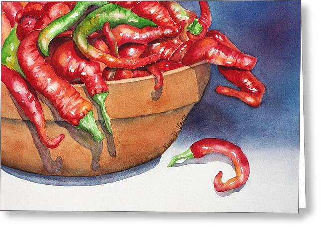 Bowl Of Red Hot Chili Peppers Greeting Card by Lyn DeLano