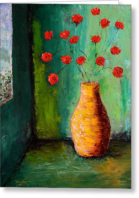 Pallet Knife Greeting Cards - Bowl of Red Poppies Greeting Card by Bill Unger