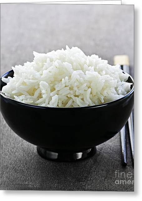 Placemat Greeting Cards - Bowl of rice with chopsticks Greeting Card by Elena Elisseeva
