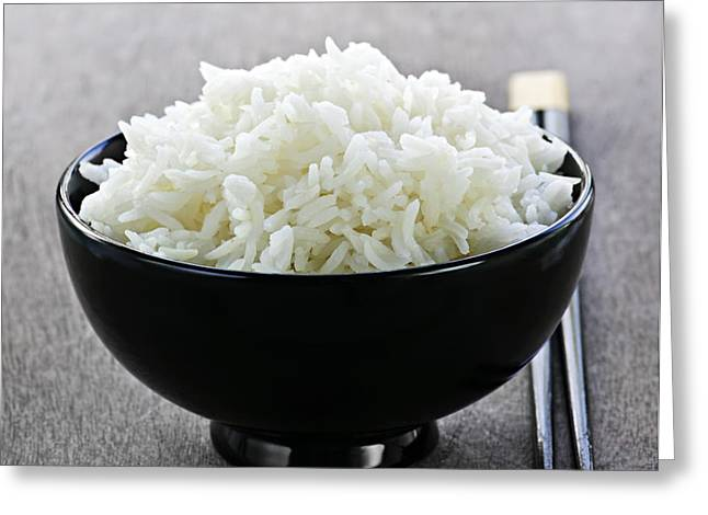 Bowl of rice with chopsticks Greeting Card by Elena Elisseeva