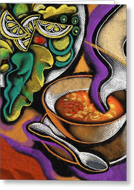 Lettuce Greeting Cards - Bowl of Soup Greeting Card by Leon Zernitsky