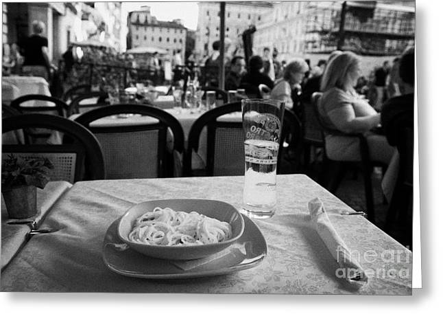 Spaghetti Greeting Cards - Bowl of Spagetti Carbonara and glass of beer sitting on a table in a street cafe in the Piazza Navona Rome Lazio Italy Greeting Card by Joe Fox
