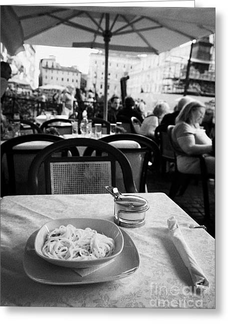 Spaghetti Greeting Cards - Bowl of Spagetti Carbonara and small bowl of parmesan cheese sitting on a table in a street cafe in the Piazza Navona Rome Lazio Italy Greeting Card by Joe Fox