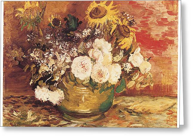 Bowl Of Flowers Greeting Cards - Bowl of Sunflowers Roses and Other Flowers Greeting Card by Vincent Van Gogh
