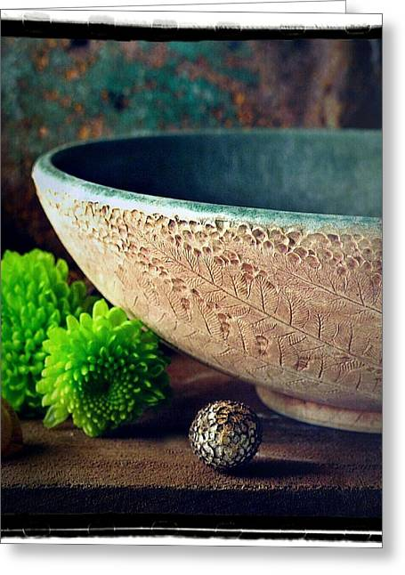 Mountains Ceramics Greeting Cards - Bowl with Cinnamon Fern Greeting Card by Leaves Of Clay