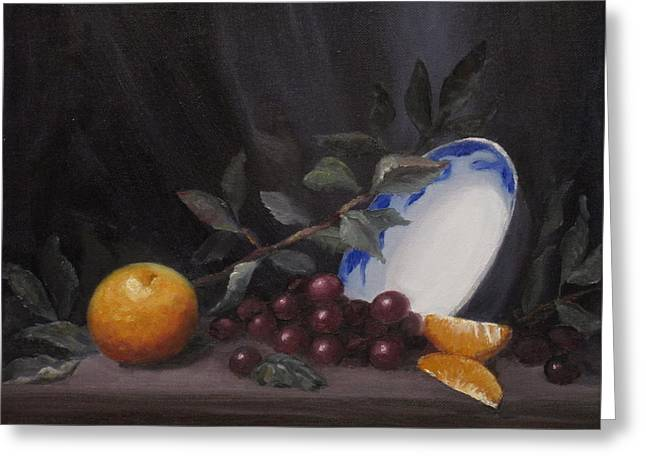 Bowl With Orange And Grapes Greeting Card by Ellen Ebert