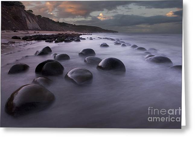 Sea Route Greeting Cards - Bowling Ball Beach at sunrise Greeting Card by Keith Kapple