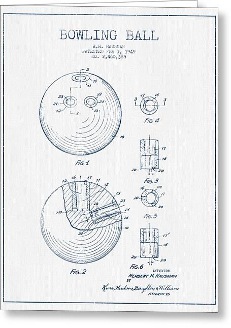 Hobby Digital Art Greeting Cards - Bowling Ball Patent Drawing from 1949 - Blue Ink Greeting Card by Aged Pixel
