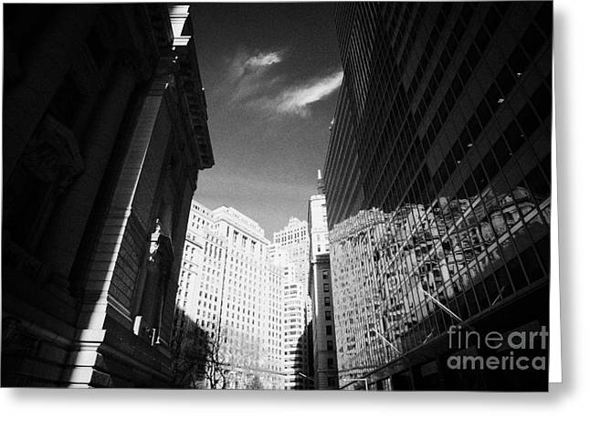 Bowling Green Broadway Financial Wall Street Area District Canyon New York City Greeting Card by Joe Fox