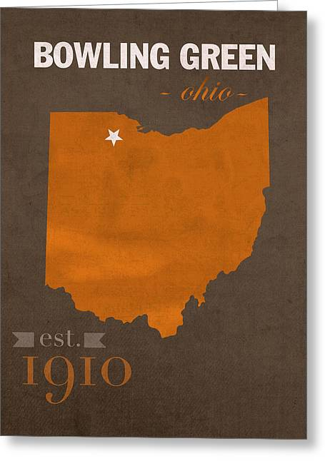 Town Mixed Media Greeting Cards - Bowling Green State University Falcons Ohio College Town State Map Poster Series No 021 Greeting Card by Design Turnpike