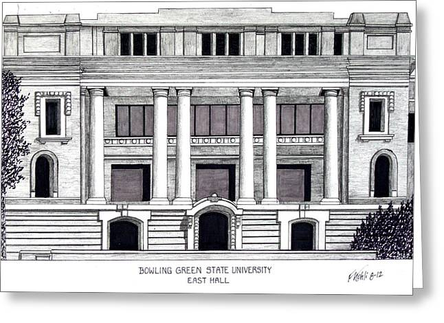 Famous University Buildings Drawings Greeting Cards - Bowling Green State University Greeting Card by Frederic Kohli