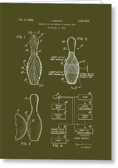 1968 Drawings Greeting Cards - Bowling Pin Patent 1968 Greeting Card by Mountain Dreams
