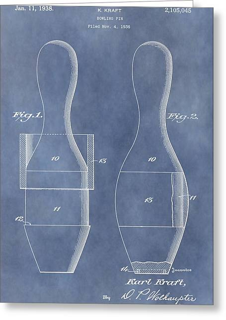 Champs Mixed Media Greeting Cards - Bowling Pin Patent Greeting Card by Dan Sproul