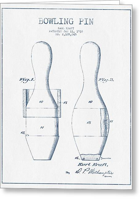 Bowling Greeting Cards - Bowling Pin Patent Drawing from 1938 - Blue Ink Greeting Card by Aged Pixel