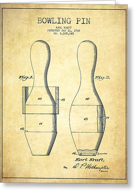 Bowling Greeting Cards - Bowling Pin Patent Drawing from 1938 - Vintage Greeting Card by Aged Pixel