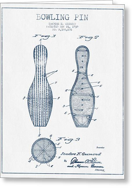 Bowling Greeting Cards - Bowling Pin Patent Drawing from 1939 - Blue Ink Greeting Card by Aged Pixel