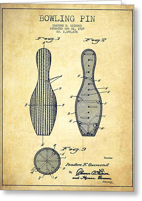 Bowling Greeting Cards - Bowling Pin Patent Drawing from 1939 -Vintage Greeting Card by Aged Pixel