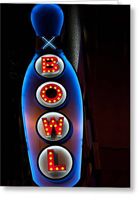 Hollywood Bowl Greeting Cards - Bowling Pin Sign Greeting Card by Matthew Bamberg