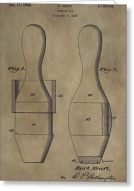 Tournament Digital Art Greeting Cards - Bowling Pins Patent Greeting Card by Dan Sproul