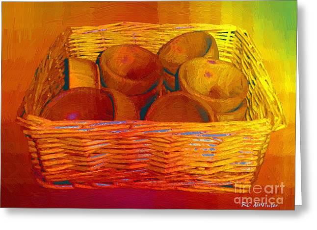 Wooden Bowls Digital Art Greeting Cards - Bowls in Basket Moderne Greeting Card by RC deWinter