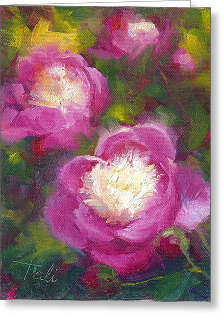 Bowl Of Flowers Greeting Cards - Bowls of Beauty - Alaskan peonies Greeting Card by Talya Johnson