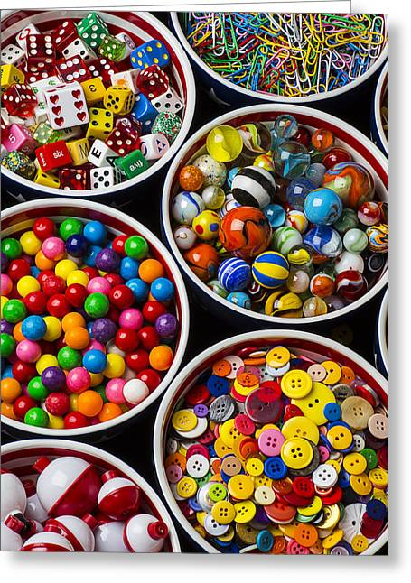 Bobber Greeting Cards - Bowls of buttons and marbles Greeting Card by Garry Gay