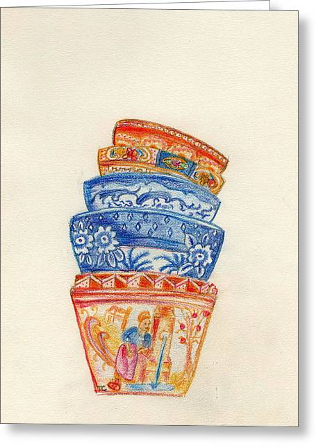 Stack Drawings Greeting Cards - Bowls Greeting Card by Tamyra Crossley