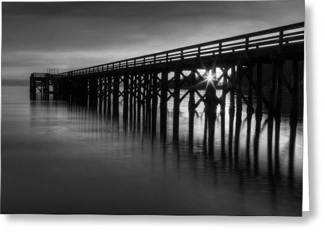 Juan De Fuca Greeting Cards - Bowman Bay Pier Sunset- Black and White Greeting Card by Mark Kiver