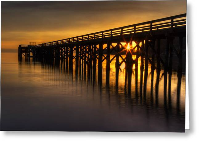 Juan De Fuca Greeting Cards - Bowman Bay Pier Sunset Greeting Card by Mark Kiver