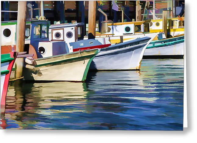 Boats At Dock Greeting Cards - Bows Out Greeting Card by Scott Campbell