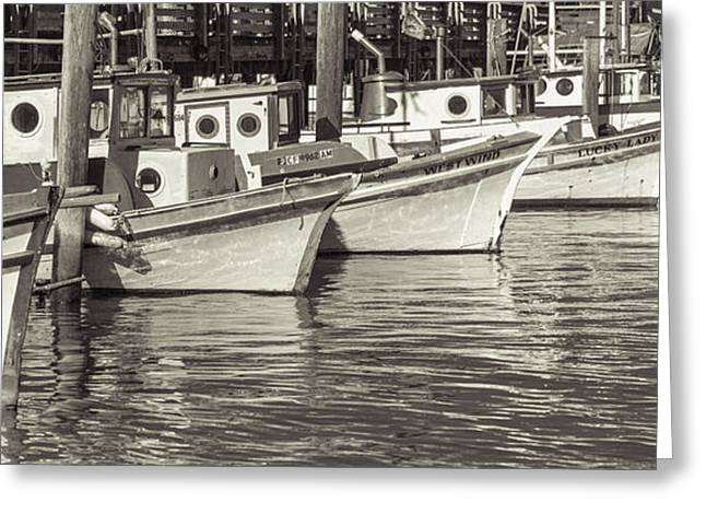 Boats At Dock Greeting Cards - Bows Out Sepia Greeting Card by Scott Campbell