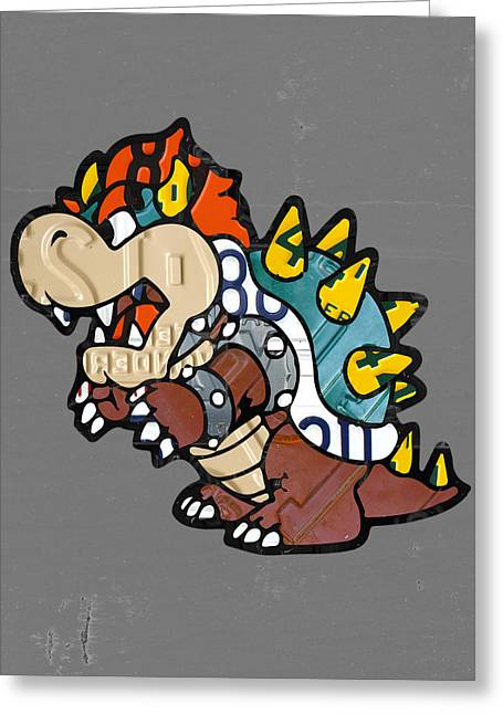 Vintage Nintendo Game Greeting Cards - Bowser from Mario Brothers Nintendo Original Vintage Recycled License Plate Art Portrait Greeting Card by Design Turnpike
