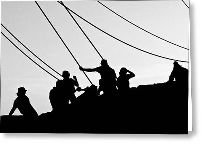 Schooner Greeting Cards - Bowsprit Silhouette Greeting Card by Craig Caldwell