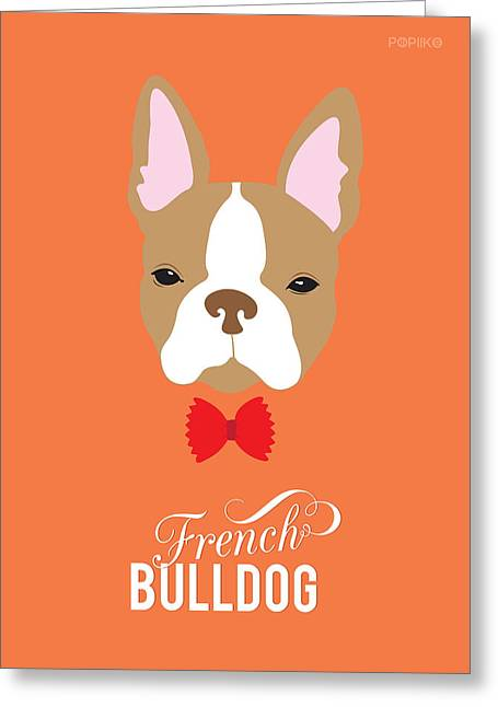 Cute Frenchie Art Greeting Cards - Bowtie Dogs Greeting Card by Popiko Shop