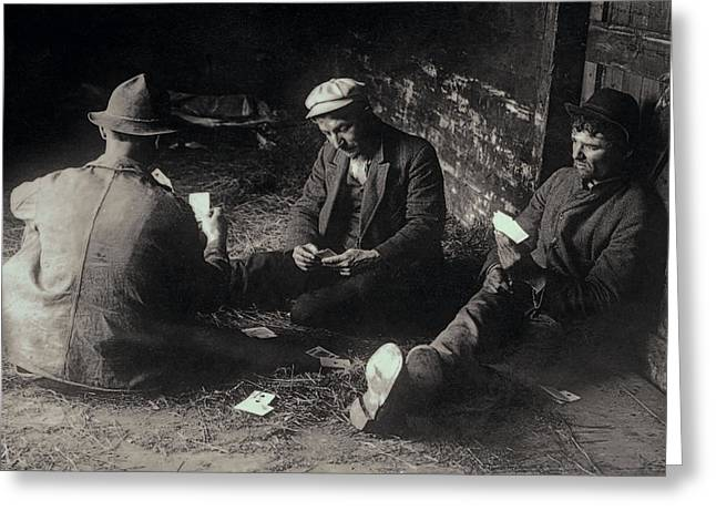 Skid Row Greeting Cards - BOX CAR TRAMPS - The GREAT DEPRESSION Greeting Card by Daniel Hagerman