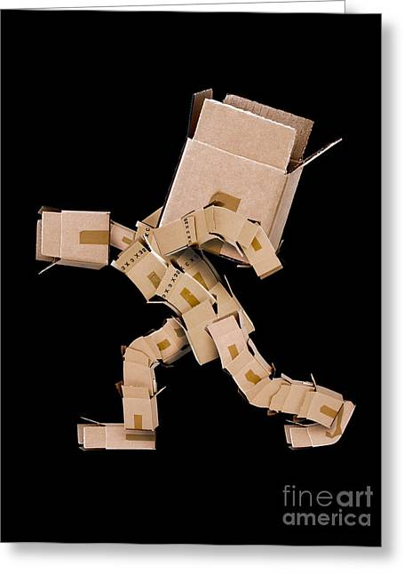 Box Character Carrying Large Box Greeting Card by Simon Bratt Photography LRPS