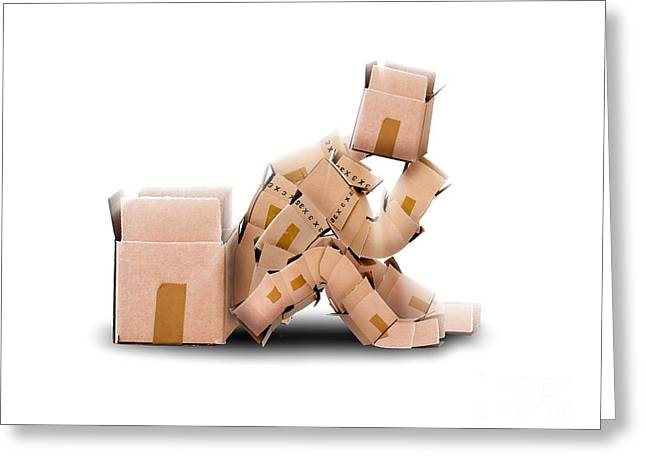 Cardboard Greeting Cards - Box character sat thinking Greeting Card by Simon Bratt Photography LRPS