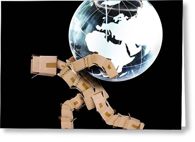 Cardboard Greeting Cards - Box man carrying a globe Greeting Card by Simon Bratt Photography LRPS