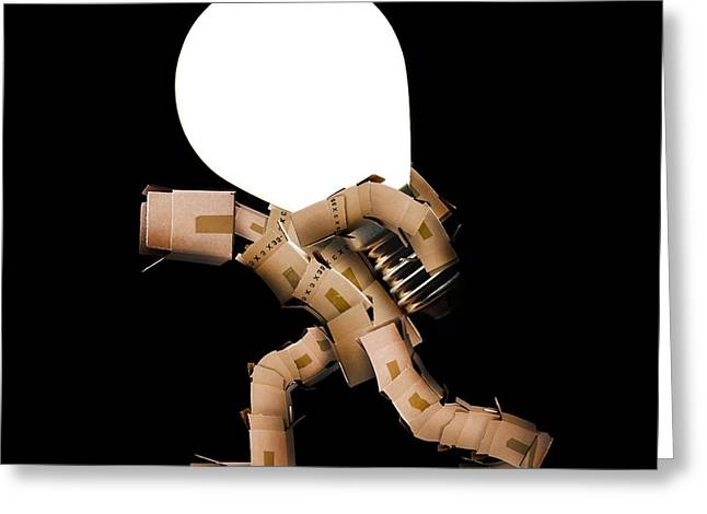 Cardboard Greeting Cards - Box man carrying light bulb Greeting Card by Simon Bratt Photography LRPS