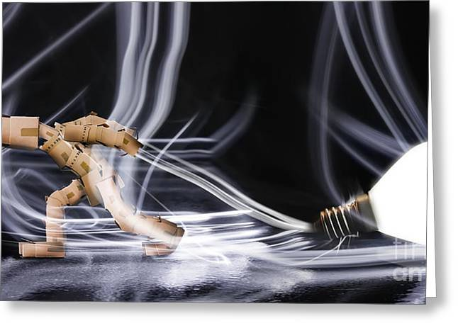 Cardboard Greeting Cards - Box man dragging a light bulb Greeting Card by Simon Bratt Photography LRPS