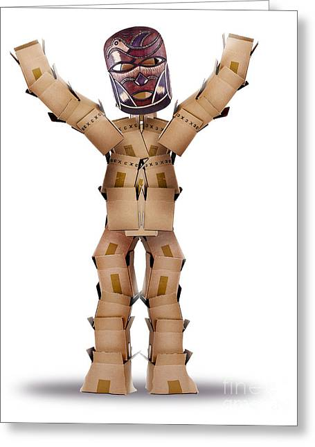 Cardboard Greeting Cards - Box man hiding behind a tribal mask Greeting Card by Simon Bratt Photography LRPS
