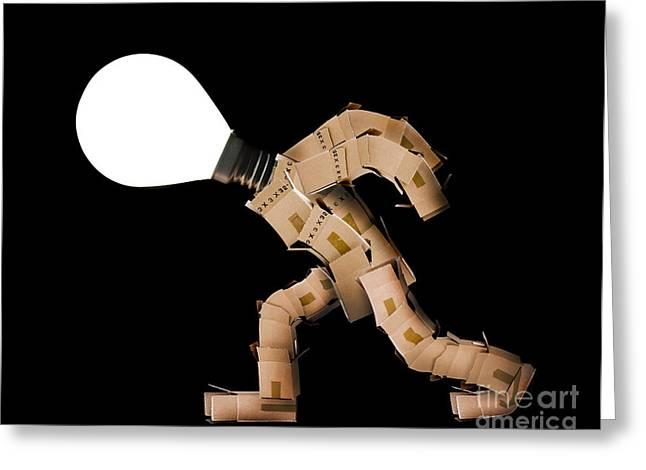 Cardboard Greeting Cards - Box man with light bulb head Greeting Card by Simon Bratt Photography LRPS