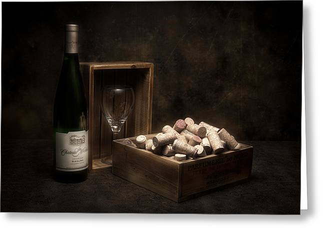 Stopper Photographs Greeting Cards - Box of Wine Corks Still Life Greeting Card by Tom Mc Nemar