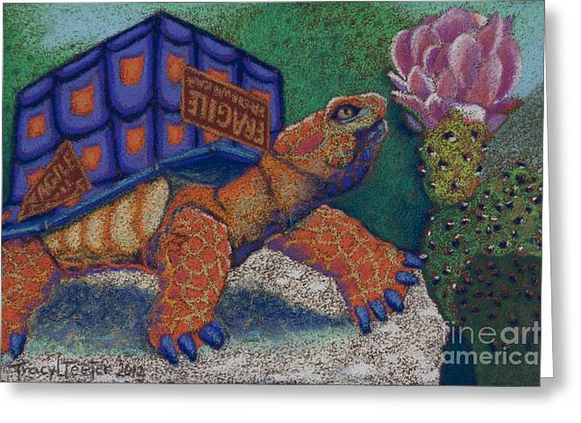 Cardboard Pastels Greeting Cards - Box Turtle Greeting Card by Tracy L Teeter