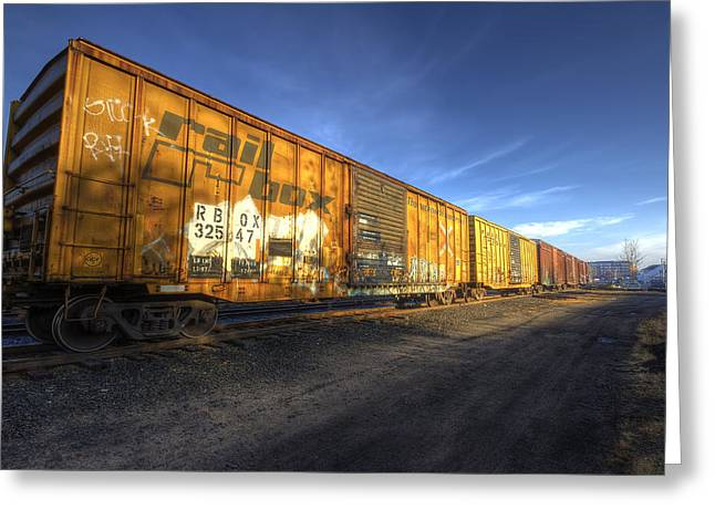 Railyard Greeting Cards - Boxcars Greeting Card by Eric Gendron