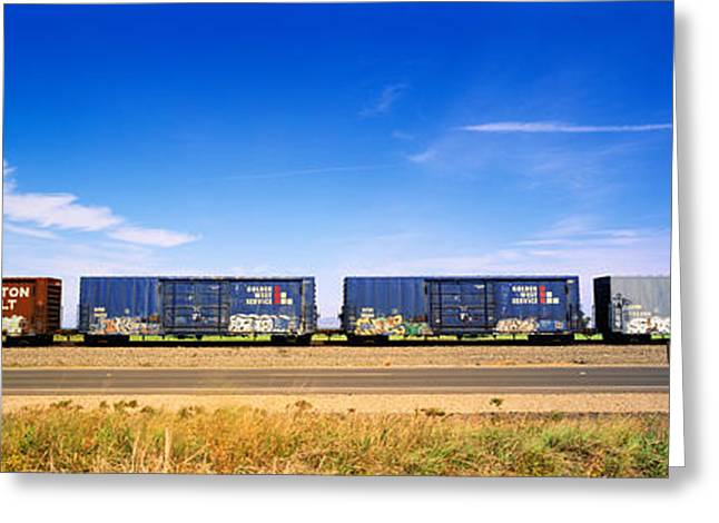 Train Car Greeting Cards - Boxcars Railroad Ca Greeting Card by Panoramic Images