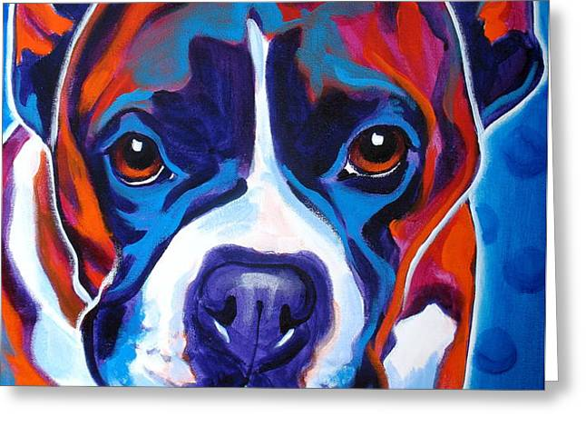 Boxer - Atticus Greeting Card by Alicia VanNoy Call